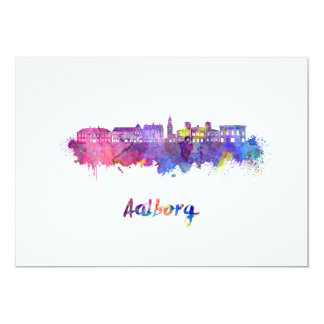 Aalborg skyline in watercolor card