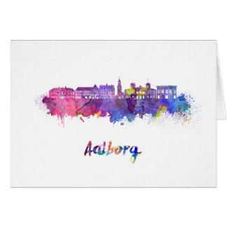 Aalborg skyline in watercolor card