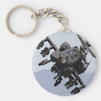 Aapache Attack Helicopter Basic Round Button Key Ring