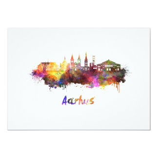 Aarhus skyline in watercolor card