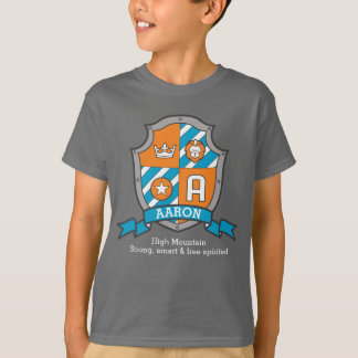 Aaron letter A boys name & meaning knights shield T-Shirt