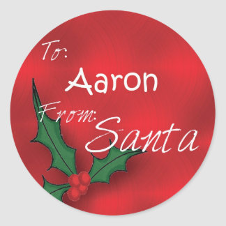 Aaron Personalised Holly Label Round Sticker