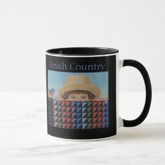 """""""Aaron's Peeking""""  Amish Boy With Quilt Mug"""
