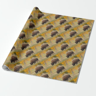 AAutumn Buffaloes Cow and Calf Wrapping Paper