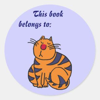 AB- Cute Funny Cat Book Sticker