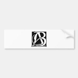 AB Monogram with Black Background Bumper Sticker