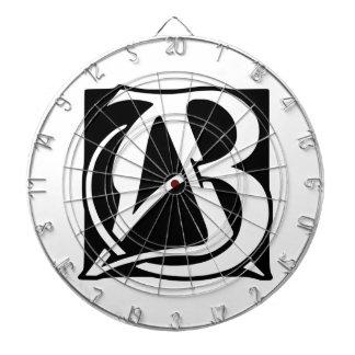 AB Monogram with Black Background Dartboard