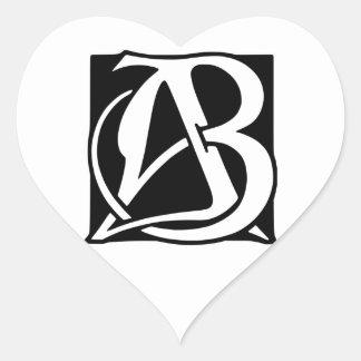 AB Monogram with Black Background Heart Sticker
