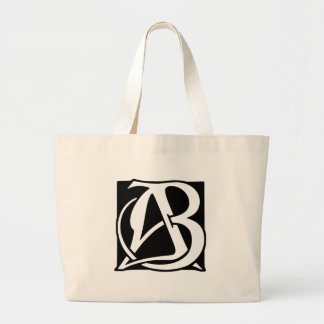 AB Monogram with Black Background Large Tote Bag