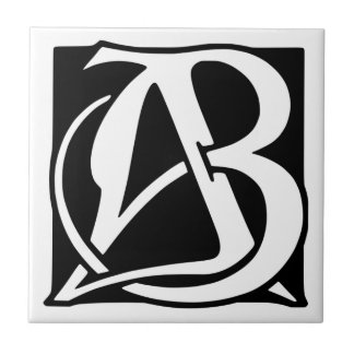 AB Monogram with Black Background Small Square Tile