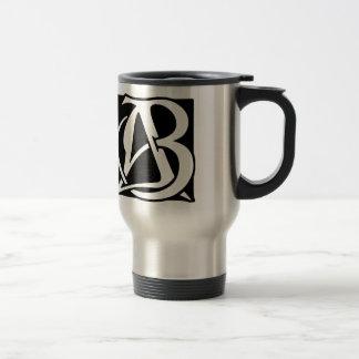 AB Monogram with Black Background Travel Mug