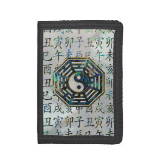 Abalone and Gold Bagua  feng shui hieroglyphs Tri-fold Wallet