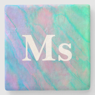 Abalone Shell Watercolor mother-of-pearl Shellfish Stone Beverage Coaster