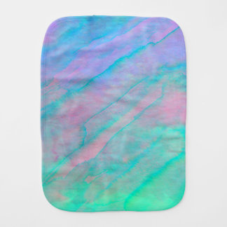 Abalone Shell Watercolor Mother of Pearl Stone Burp Cloth