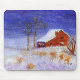 Abandoned Barn in Winter, Mousepad