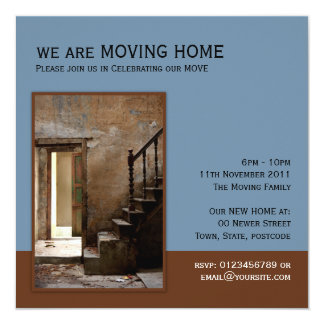 Abandoned blue Moving Home 5.25x5.25 Square Paper Invitation Card