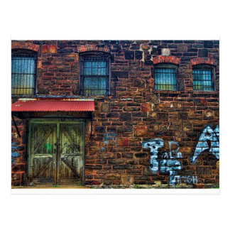 Abandoned Graffiti Brick Building Barred Windows Postcard