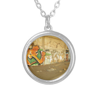Abandoned Graffiti Silver Plated Necklace