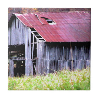 ABANDONED HORSE BARN IN AUTUMN FALL SMALL SQUARE TILE