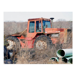 Abandoned Old Big Red Tractor Rusting Away Postcard