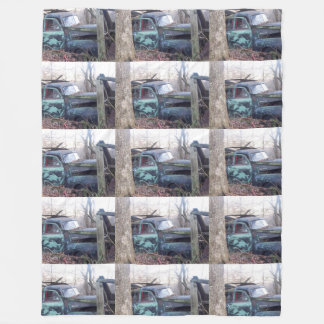 Abandoned Old Retro Truck Fleece Blanket