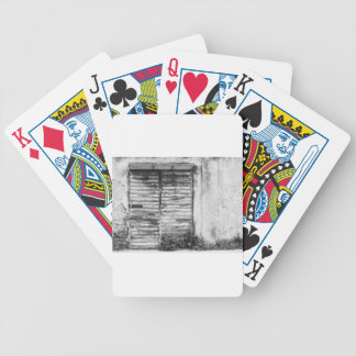 Abandoned shop forgotten bw bicycle playing cards