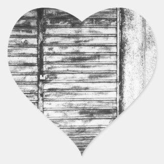 Abandoned shop forgotten bw heart sticker