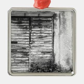 Abandoned shop forgotten bw metal ornament