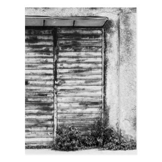 Abandoned shop forgotten bw postcard