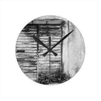 Abandoned shop forgotten bw round clock