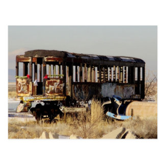 Abandoned train postcard