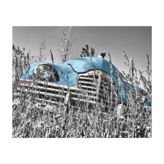 "Abandoned Vintage Car Blue 20""x 16"" Canvas Print"