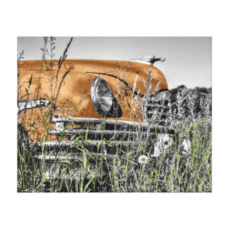 "Abandoned Vintage Car Orange 20""x 16"" Canvas Print"