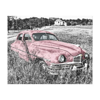 "Abandoned Vintage Car Pink 20""x 16"" Canvas Print"