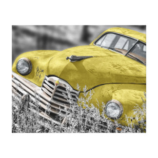 "Abandoned Vintage Car Yellow 20""x 16"" Canvas Print"