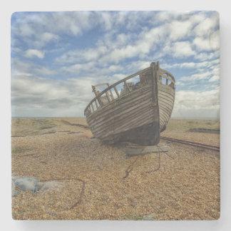Abandoned Wooden Fishing Boat | Dungeness Stone Coaster