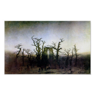 Abbey in an Oak Forest by Caspar David Friedrich Poster