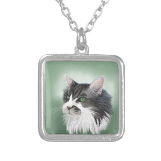 Abbie domestic long hair cat, digital portrait silver plated necklace