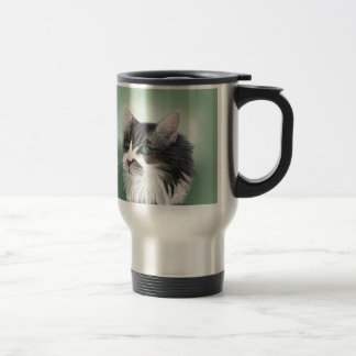 Abbie domestic long hair cat, digital portrait travel mug