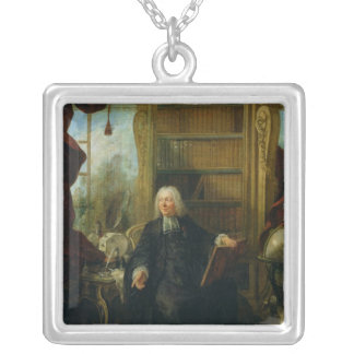 Abbot Nollet  in his study, in chateau Silver Plated Necklace