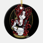 """Abby"" Gothic Red Tattoo Snake Fairy Ornament"