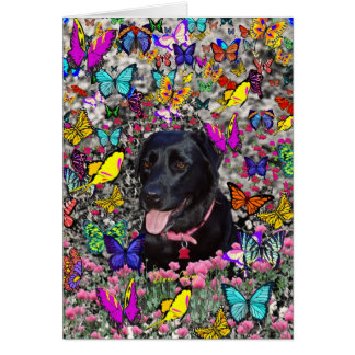 Abby in Butterflies - Black Lab Dog Stationery Note Card