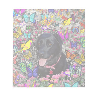 Abby in Butterflies - Black Lab Dog Scratch Pad