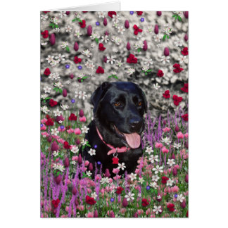 Abby in Flowers – Black Lab Dog Stationery Note Card