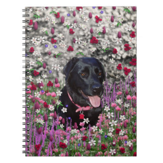Abby in Flowers – Black Lab Dog Note Book