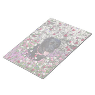 Abby in Flowers – Black Lab Dog Notepad