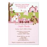 Abby's Farm Animal Baby Shower GIRL PINK AFC 13 Cm X 18 Cm Invitation Card
