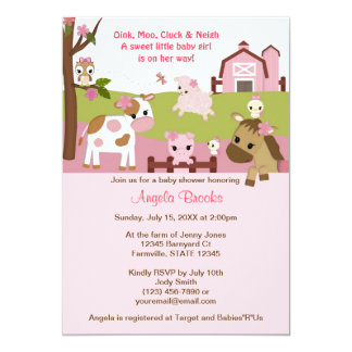 Abby's Farm Animal Girls Baby Shower GIRL PINK 13 Cm X 18 Cm Invitation Card