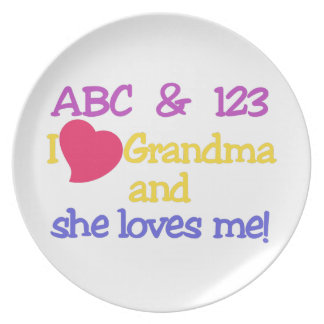 ABC & 123 I Grandma & She Loves Me! Dinner Plates