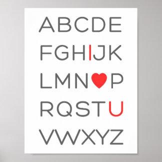 ABC Alphabet I Love You Poster